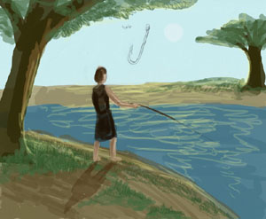 Man fishing with a Stick